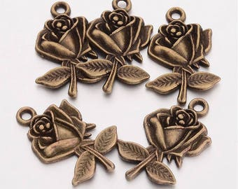 Bronze charms etsy flower charms pendants antiqued bronze rose pendants bronze charms wholesale charms bulk 50 pieces 25mm aloadofball Gallery