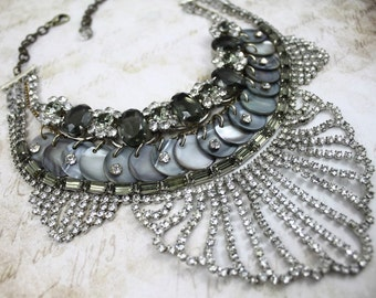 Vintage Assemblage MultiLayered Stacked Statement Necklace with Clear and Grey Rhinestones - MultiStrand Bib Choker by Boutique Bijou