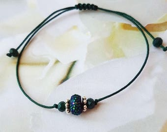 Dark Green Sparkly Beads Bracelet, Holiday Gift