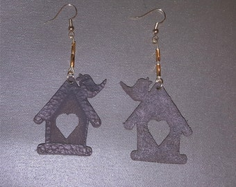 Home and a Lil Birdie- 100% Genuine Leather Hand Beaded Earrings