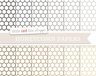 Honeycomb Digital Papers, Natural Scrapbooking Backgrounds Wallpapers Vintage Cute Decorative Crafting Graphic Design Small Commercial Use