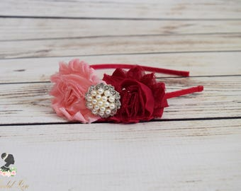 Handcrafted Romantic Pink Duet Rose Headband - Shabby Flower Headband - Pink Adult Headband - Pink Bridesmaid Hair Accessory - Toddler Bows