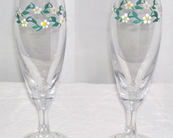 Hand painted Champagne Flutes (pair)