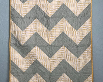Baby Quilt Toddler Child Quilt Handmade Chevron Stair Step Gray Yellow and Pink Fabric Crib Quilt, 35 x 47, lap quilt throw, handmade quilt