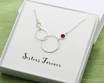 Gift for Sister, Sister Necklace, Sisters Necklace, Birthday Sister Gift, 2 Ring Necklace, Sister Gift Idea, Sister Jewelry, Gift for Her