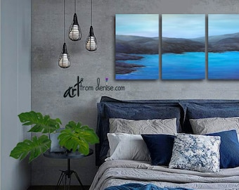 Coastal Bedroom Wall Art, Living Room, Blue Gray Ocean Art, Large Canvas set, Office, 3 panel triptych