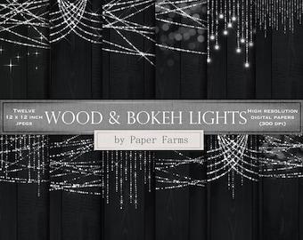 Lights on black wood, digital paper, scrapbook paper, backgrounds, bokeh, string lights, silver, dark wood, twinkle lights, INSTANT DOWNLOAD