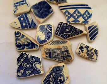 Blue & White Scottish Genuine Surf tumbled Sea Pottery