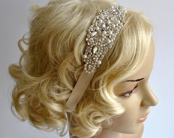 Crystal Pearls Rhinestone ,Crystal Headband, Bridal Headband, Wedding Hair Piece, Bridal Headpice, Wedding Headband,Crystal Headpiece