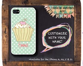 Cupcake Polkadot iPhone Case, Monogram iPhone Case, iPhone 4, 4s, iPhone 5, 5s, 5c, iPhone 6, 6s, 6 Plus, SE, iPhone 7, 7 Plus
