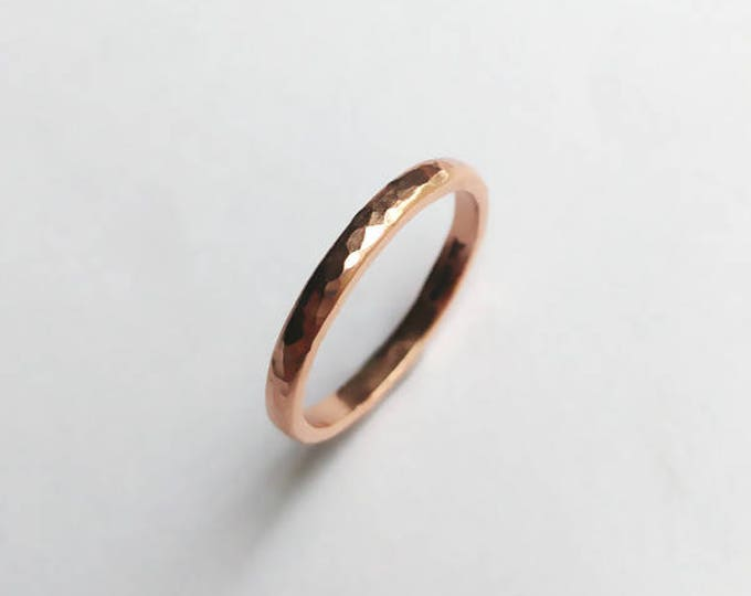 Featured listing image: 9ct Rose Gold Hammered Court Profile Ring - Wedding Band, Ladies, Textured