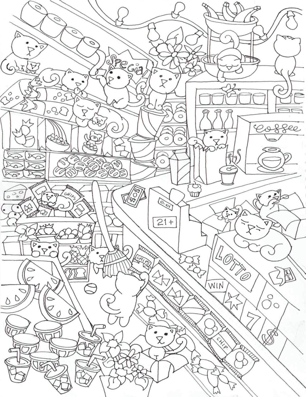 BODEGA de gatos para colorear Poster cartel de actividad