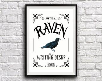 Raven Riddle Poster ~ Alice in Wonderland Inspired Poster, Digital Print, Hand Drawn Illustration.