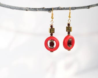 red and burgandy beaded earrings