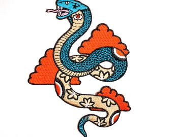 King Cobra Embroidered Snake Iron On Patch
