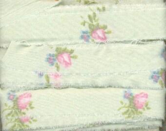 6 yards  rachel ashwell fabric pink rose buds shabby trim chic seam binding Muslin c787 . ....oohlala