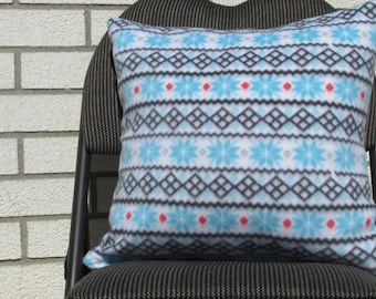 Fleece Pillow Two Sided or Reversible Cushion Cover Snowflakes with Frozen