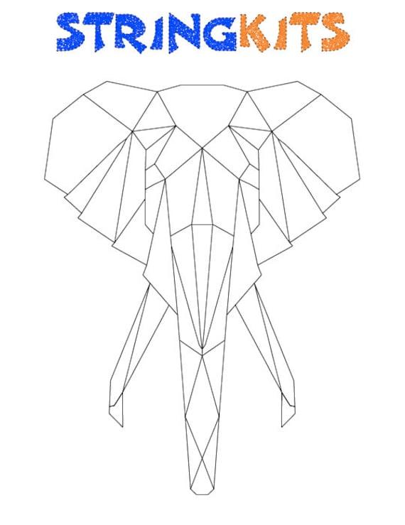Elephant String Art Template