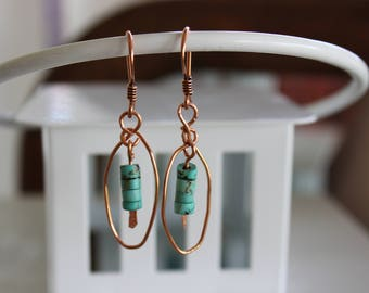 Earrings, Magnesite on Copper Wire