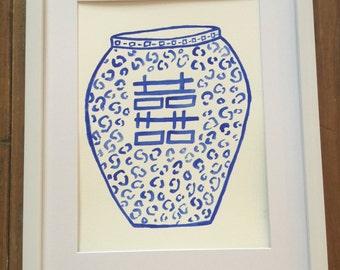 Sarah Blue Leopard Vase
