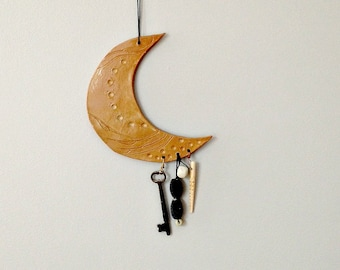 Ceramic Junk Moon - hippie rustic country ceramics bohemian celestial