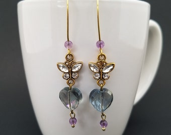 Purple Crystal and Amethyst Butterfly and Hearts Earrings