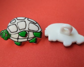 5 buttons for kids white 19 mm x 13 mm (369) buttons button turtle