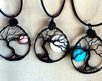 Full Moon Tree of Life Wire Wrap Black Wire Wrapped Tree of Life Pendant Black Tree of Life Necklace