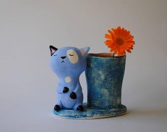 Serene Blue Cat Sculpture with small Multipurpose Pot