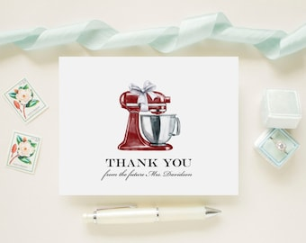 Red Stand Mixer Bridal Shower Personalized Wedding Thank You Cards, Bridal Shower, Wedding, Newlywed Future Mrs. Note Cards