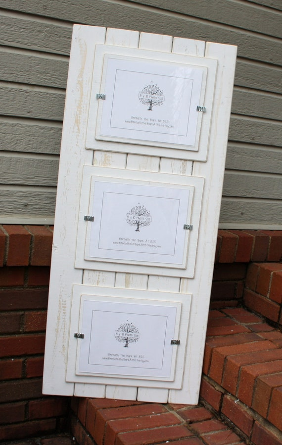 Triple 8x10 Picture Frame - Distressed Wood - Double Mats - Holds 3 ...