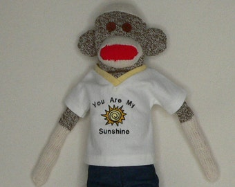 You Are My Sunshine Sock Monkey - 18 inch Tall - Rockford Red Heel Socks - Great Gift For Any Occasion