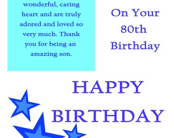 Son 80 Birthday Card with removable laminate