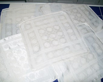 Vintage Set of 5 Napkins Ivory Satin Finish Table Linens