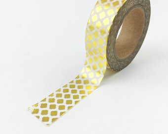 Gold Foil Moroccan Style Pattern Washi Tape // 15mm // Paper Tape // BBBsupplies {CR-W-F035}