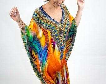 Kaftan, Beach Kaftan, Womens Dress, Plus Size Clothing, Bohemian, Summer Dress, Gift for Her, Maxi Dress, Gifts for Women, Boho chic, Silk