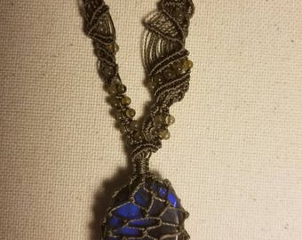 Mystical LABRADORITE Micro Macrame Necklace