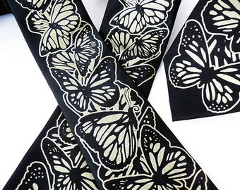 Butterfly Necktie, Necktie for Men, Insect Necktie, Gold on Black, Spring Wedding, Wedding Necktie, Groomsmen Gift - Monarch Butterfly Tie