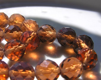 Expresso Brown and Opal 12mm Faceted Round Beads  8 Beads