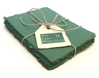 Dark green handmade paper, recycled, deckle edge, 10  sheets,  4.25 x 5.5 inch