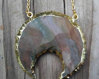 Genuine Jasper Crescent Moon Necklace