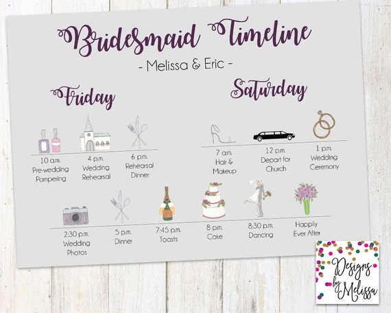 Bridesmaid Timeline Wedding Day Timeline BrideS Gal