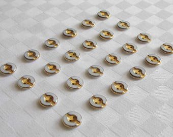 24  fabulous tiny 2-hole elegant opaque white glass buttons - with very nice golden trim -   (13 mm - 1/2in.)