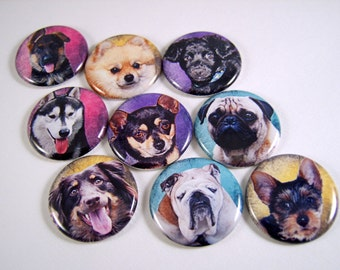 "1"" Flat Back Button, Dog Cabochons, 12 Count"