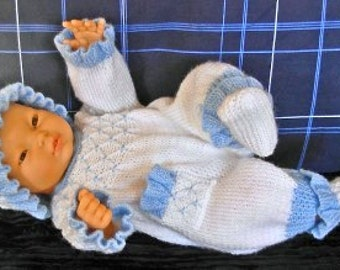 "Boy's pdf Knitting Pattern 3 Pce Set in all 3 sizes - Prem Baby 16/18"" Doll, Newborn Baby 18/20"" Doll, 0-3 Month Baby 20/22"" Doll - OLIVER"