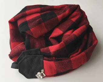 Studio Love Camera Strap: red black buffalo plaid scarf pro photographer dslr leather color choices fall winter christmas gift stocking