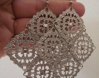 Huge Silver Chandelier Earrings, Silver Earrings, Bridesmaid Gift, Bride Gift, Gift for her