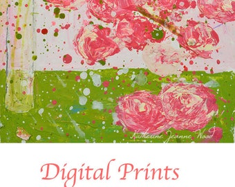 Pink Rose Quartz Cottage Chic Decor. Floral Art Painting Print. Pink Flowers Digital Print. Romantic Gift for Her. 138