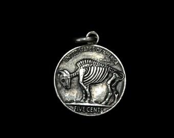 Sterling Silver Buffalo Pendant- Double Sided Indian Head Nickel Skeleton Skull/ Buffalo Skeleton Hobo Nickel
