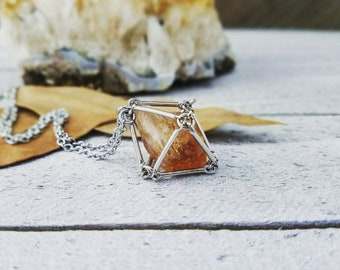 Citrine necklace - cage necklace - Rough citrine necklace - caged pendant - raw citrine - citrine jewelry - silver cage necklace - citrine